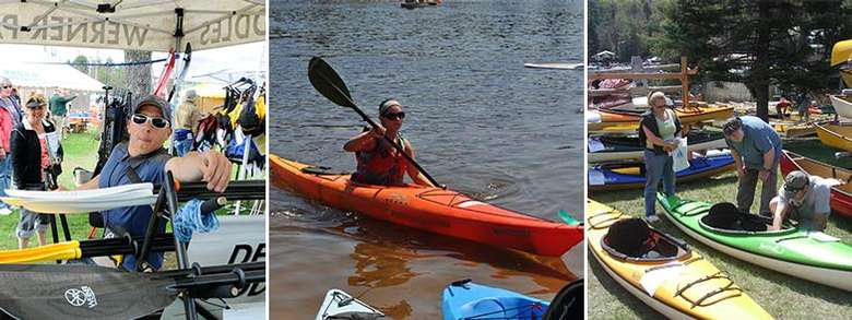three photos of a paddlefest pieced together
