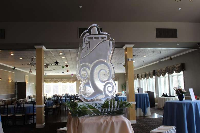 ice statue in a ballroom