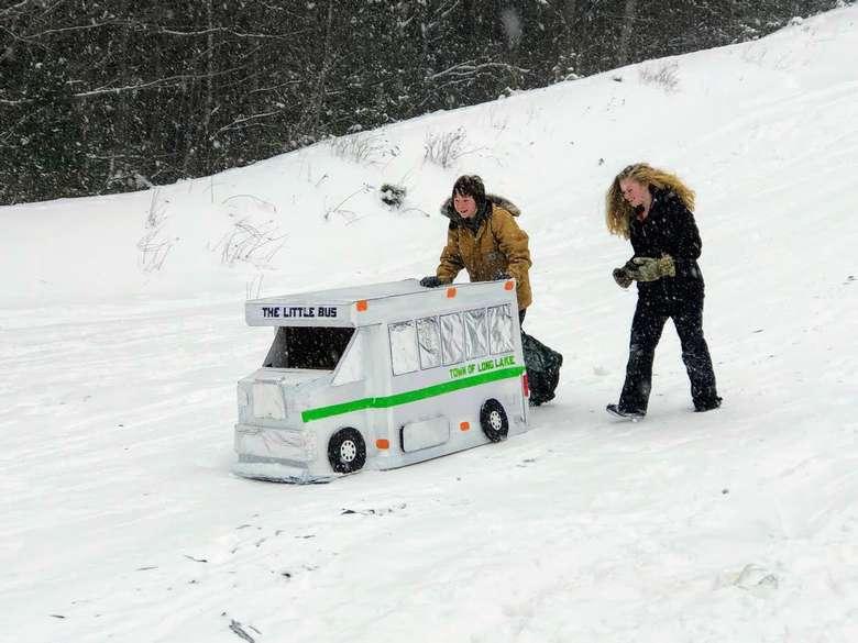 cardboard sled race