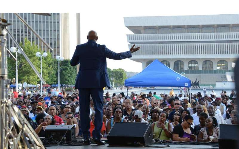 audience at black arts and cultural festival