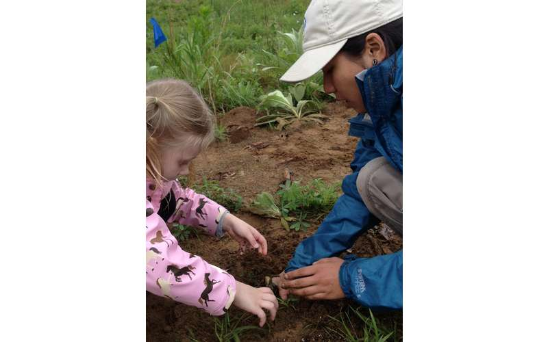 adult and kid planting something