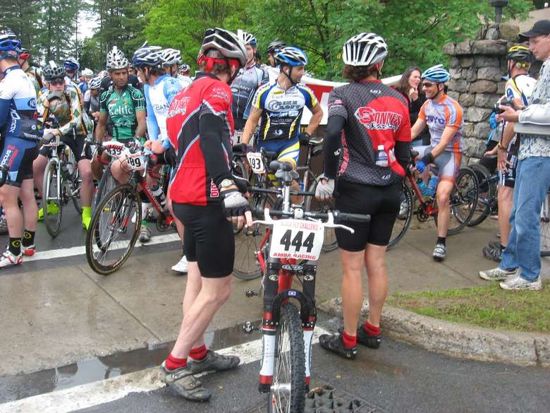 large group of bike riders waiting
