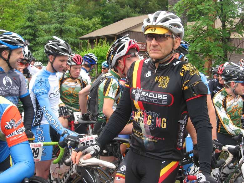 bike riders dressing in racing gear