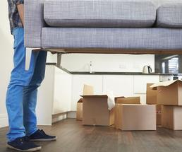 man moving couch and packing boxes