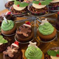 Christmas cupcakes in holder