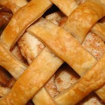 close up of lattice-style pie crust