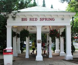 big red spring at Saratoga Race Course