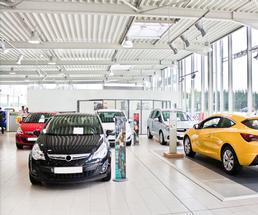 inside of car dealership