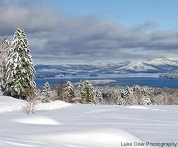 view of lake george from top of the world in the winter