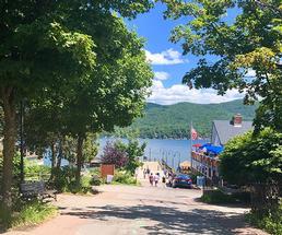 boardwalk in lake george in the summer