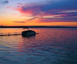 sunset over saratoga lake