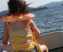 girl on boat in lake george