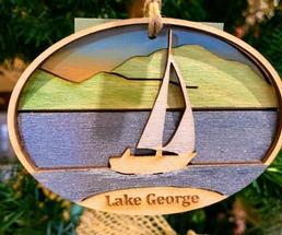 Lake George sailboat ornament