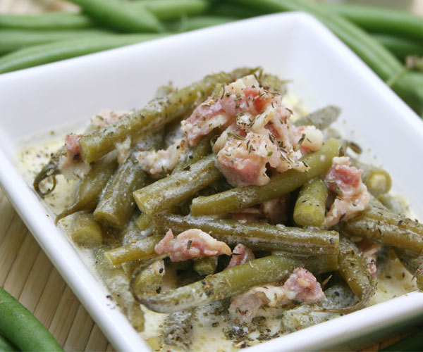 green bean casserole with pieces of meat
