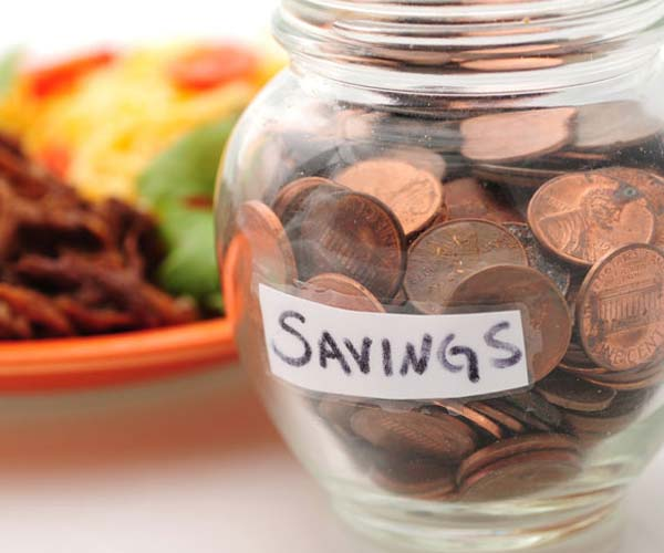 a labeled savings jar