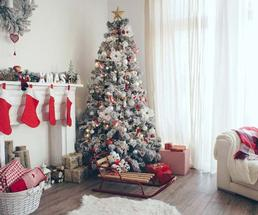 white christmas holiday decor and tree
