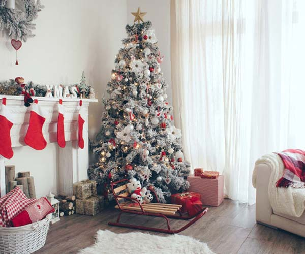 white christmas holiday decor and tree