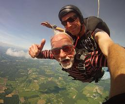 two people skydiving