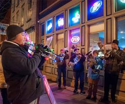 musicians outside at night