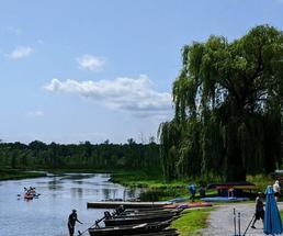 people kayaking by kayak rental place
