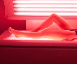 woman at a tanning salon