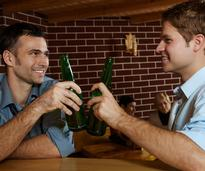 two guys drinking beer