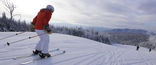 person wearing red coat skiing downhill