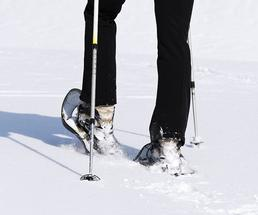 woman wearing snowshoes