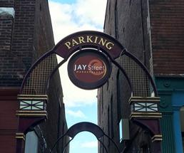 jay street marketplace entrance in schenectady