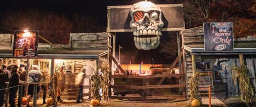 entrance to a haunted hayride