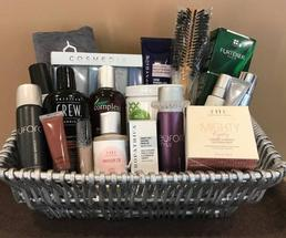 basket filled with spa products