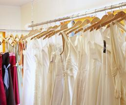 wedding dresses in a boutique shop