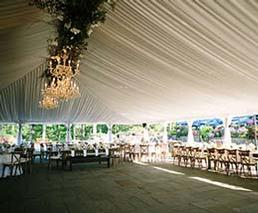 tables, chairs, lighting, decor for tent rental