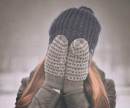 woman barely surviving outdoor winter event