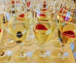 fruit in champagne flutes