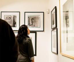 woman admiring an exhibit