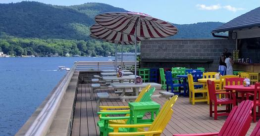 lakeside patio dining Lake George