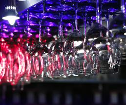 rack of wine glasses