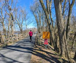 people heading down a paved trail