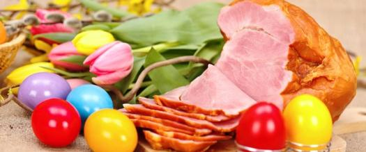 easter ham and easter eggs