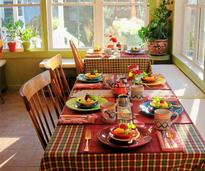 breakfast set out on enclosed patio