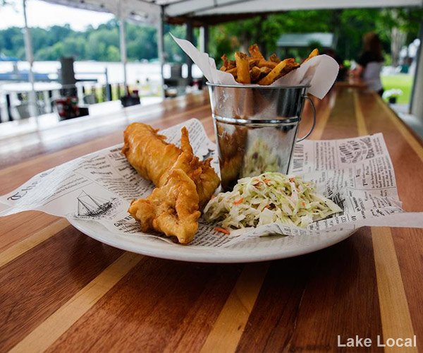 fish and chips at the lake local