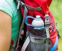 water bottle in a backpack