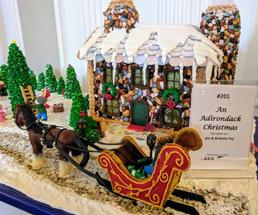 Adirondack gingerbread house on display