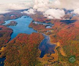 aerial view of lake in the fall