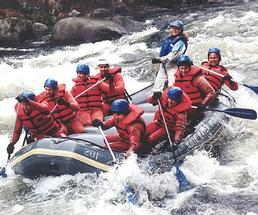people whitewater rafting