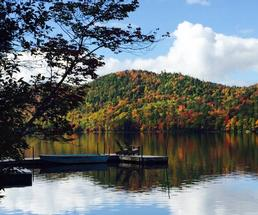 dock by lake in fall