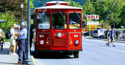 Red Trolley in Lake George