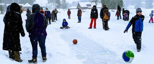 people playing Flower Ball in the snow