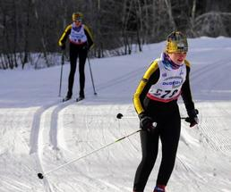 two cross-country skiers